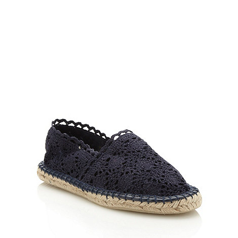 Faith - Navy lace espadrilles