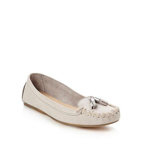 Faith - Grey leather rope trim loafers