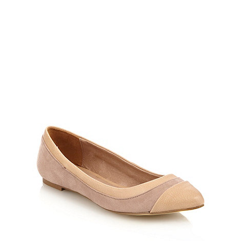 Faith - Natural mock snakeskin pointed toe court shoes