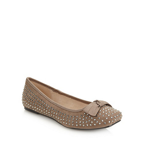 Faith - Taupe rhinestone ballet pumps