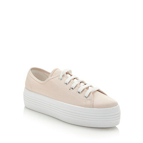Faith - Pale pink canvas platform trainers