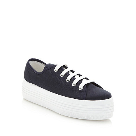 Faith - Navy canvas platform trainers
