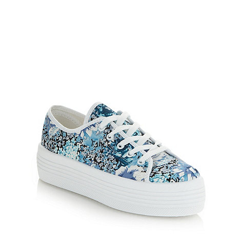 Faith - Blue floral platform trainers