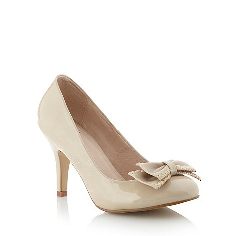 Faith - Natural patent bow trimmed high heel court shoes