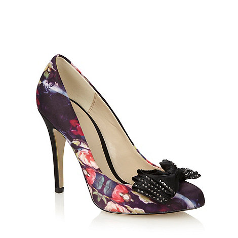 Faith - Purple satin floral pattern high heeled court shoes with bow detail
