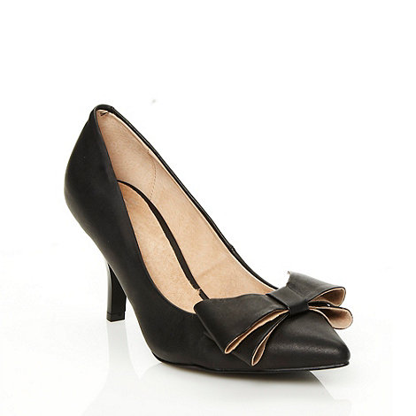 Faith - Black mid heeled pointed toed court shoes with two-tier bow detail