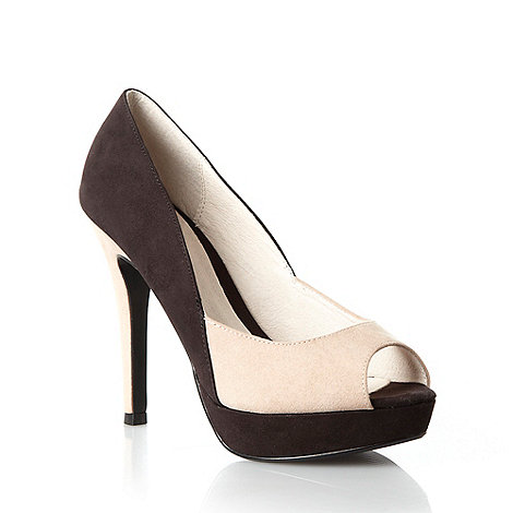 Faith - Black colour blocked high heeled court shoes