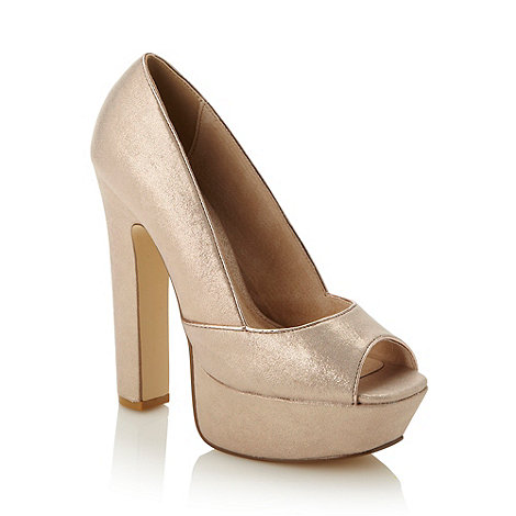 Faith - Gold metallic piped high platform shoes