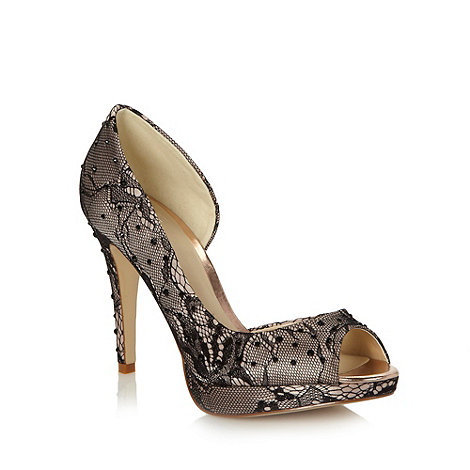 Faith - Natural high lace peep toe court shoes