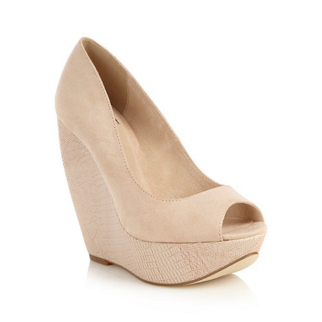 Faith - Natural high mock croc wedges