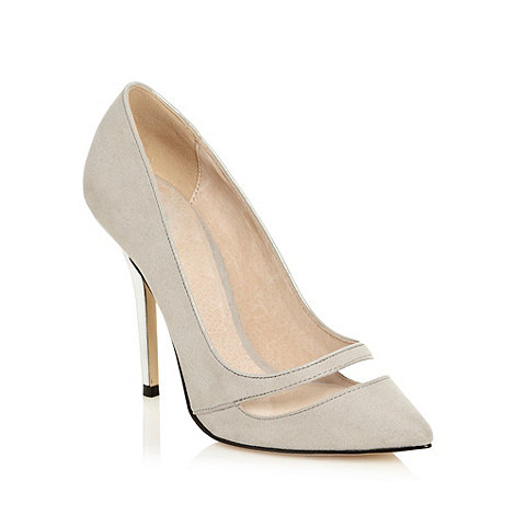 Faith - Grey high metallic heel persplexed court shoes