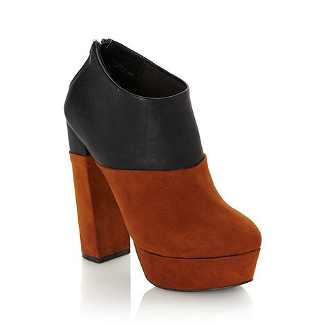 Faith - Tan colour block high shoe boots - size 5