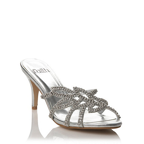 Faith - Silver mid heel diamante strap sandals