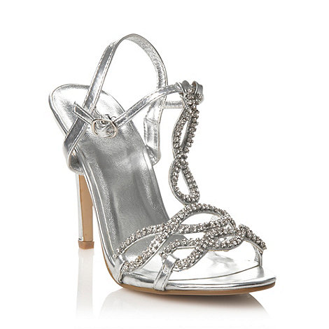 Faith - Silver metallic diamante high heeled sandals