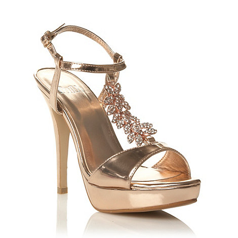 Faith - Rose high heel diamante leaf trimmed court shoes