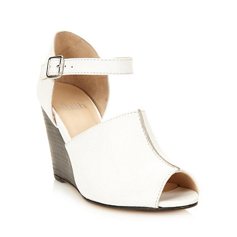Faith - White leather high wedge heeled sandals