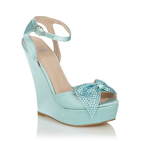 Faith - Aqua diamante bow high wedge heeled peep toe sandals