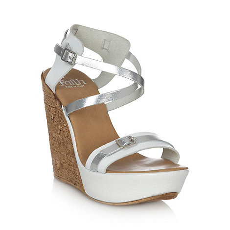 Faith - White metallic high wedge heel ankle strap sandals