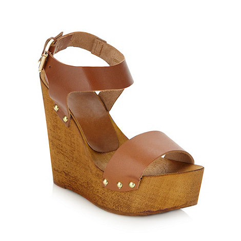 Faith - Tan high wooden wedge heeled sandals