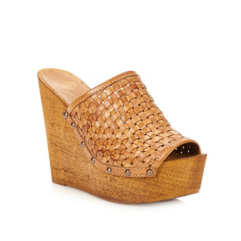 Faith - Tan leather weave high mule wedges