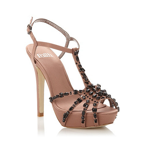 Faith - Beige high stone platform sandals