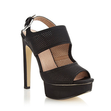 Faith - Black perforated strapped high sandals - size 7