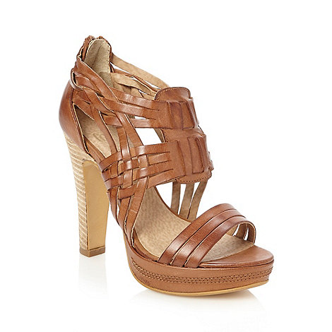 Faith - Tan high woven leather strapped sandals
