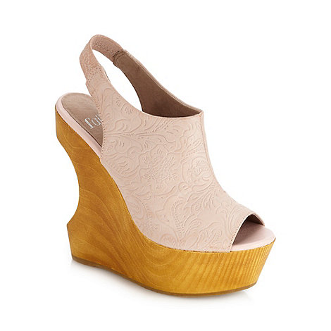 Faith - Peach embossed high wedge heeled court shoes