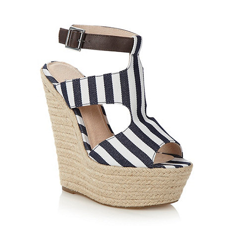 Faith - Blue striped canvas caged high wedge sandals