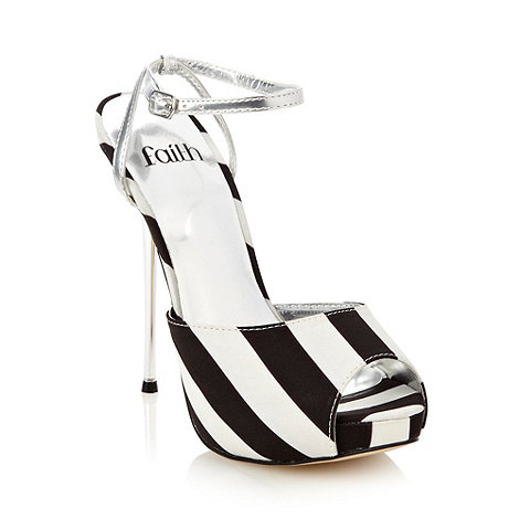 Faith - Black striped high heel sandals