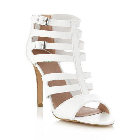 Faith - White caged high sandals