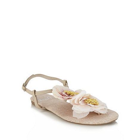 Faith - Natural large flower corsage sandals