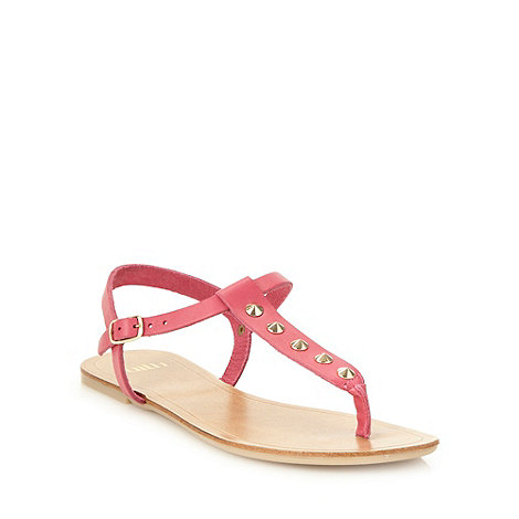 Faith - Pink studded leather strap sandals