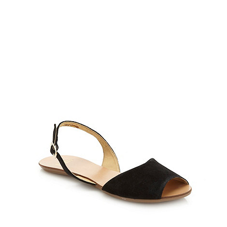 Faith - Black flat suede sandals