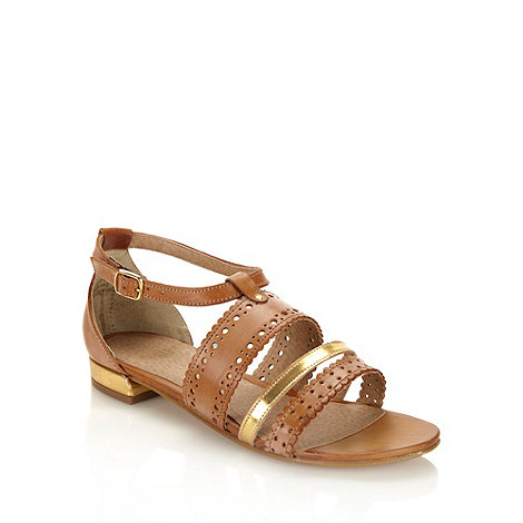 Faith - Tan scalloped leather strap sandals