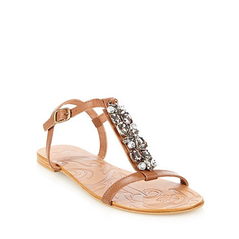 Faith - Tan leather jewelled strap sandals