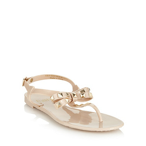 Faith - Natural pyramid studded jelly sandals