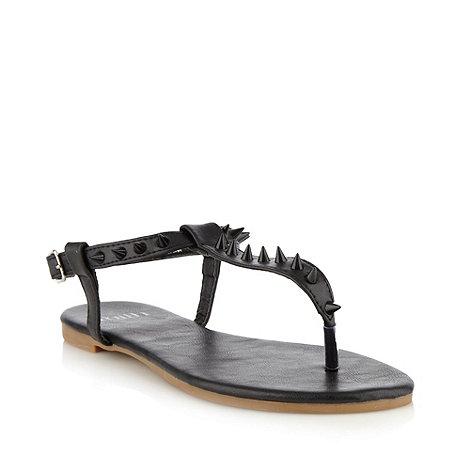 Faith - Black flat spiked t-bar sandals