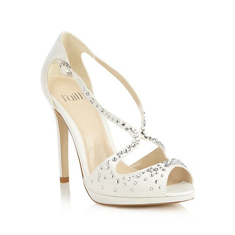 Faith - Ivory diamante peep toe high sandals
