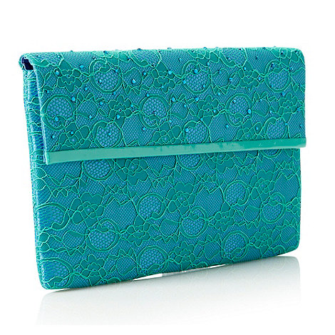 Faith - Aqua large lace clutch bag