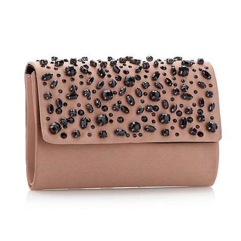 Faith - Light brown diamante cluster clutch bag