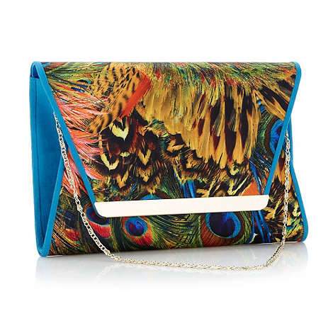 Faith - Blue feather printed clutch bag