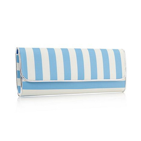 Faith - Blue large striped clutch bag