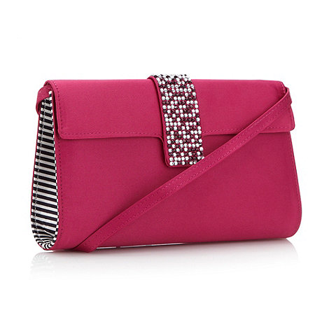 Faith - Dark pink stone tab clutch bag