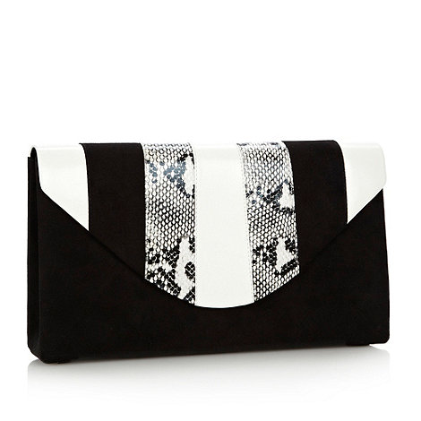 Faith - Black snakeskin panelled satin clutch bag