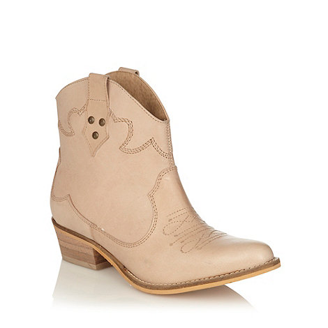 Faith - Beige leather mid heel ankle boots