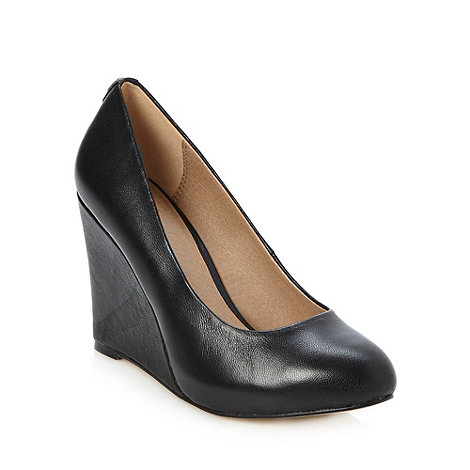Faith - Black leather high wedges