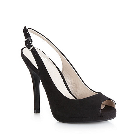 Faith - Black suedette slingback high court shoes