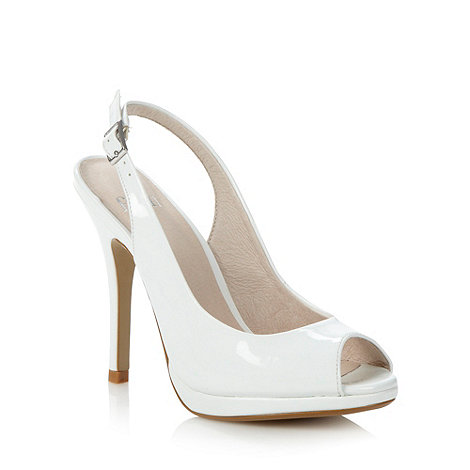 Faith - White patent slingback high court shoes