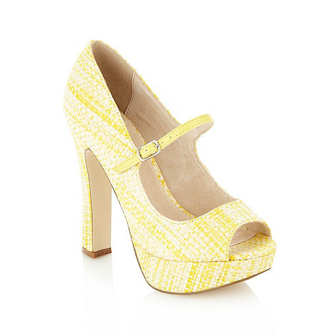 Faith - Light yellow basket weave high platform court shoes